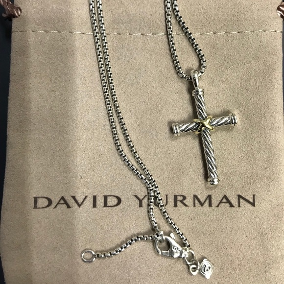 ff2627be75ab29 David Yurman Jewelry - David Yurman 18K Gold & Silver Cross Pendant Chain